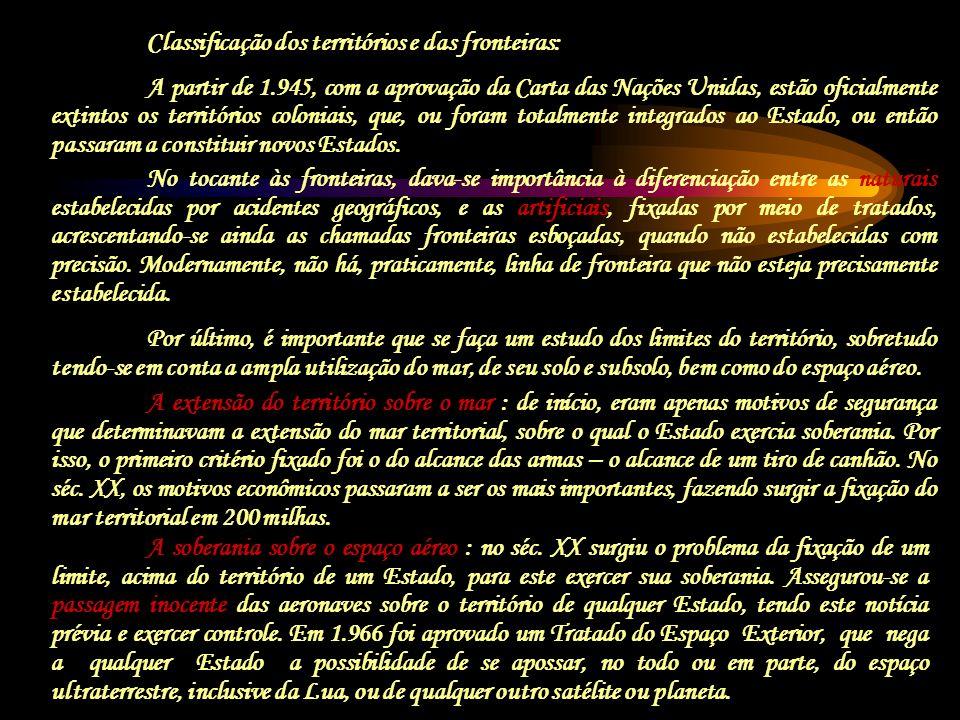 Classificação dos territórios e das fronteiras: A partir de 1.945, com a aprovação da Carta das Nações Unidas, estão oficialmente extintos os territór
