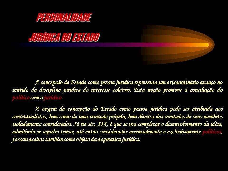 PERSONALIDADE JURÍDICA DO ESTADO A concepção de Estado como pessoa jurídica representa um extraordinário avanço no sentido da disciplina jurídica do i