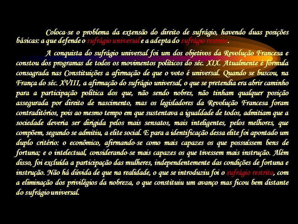 A conquista do sufrágio universal foi um dos objetivos da Revolução Francesa e constou dos programas de todos os movimentos políticos do séc. XIX. Atu