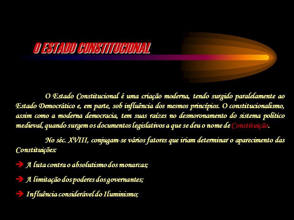 O ESTADO CONSTITUCIONAL O Estado Constitucional é uma criação moderna, tendo surgido paralelamente ao Estado Democrático e, em parte, sob influência d