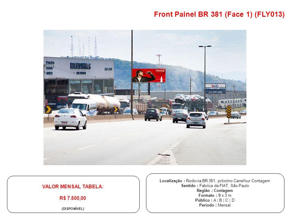 Localização : Rodovia BR 381, próximo Carrefour Contagem Sentido : Fabrica da FIAT, São Paulo Regîão : Contagem Formato : 9 x 3 m Público : A | B | C