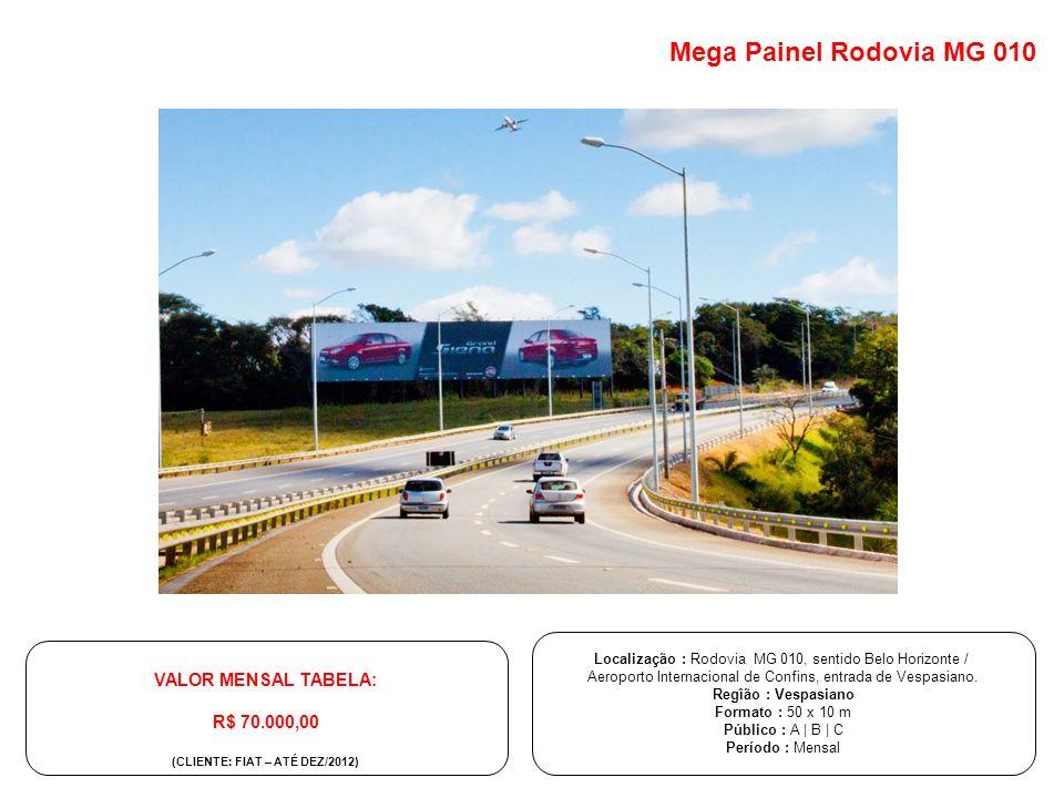 Localização : Rodovia MG 010, sentido Belo Horizonte / Aeroporto Internacional de Confins, entrada de Vespasiano. Regîão : Vespasiano Formato : 50 x 1