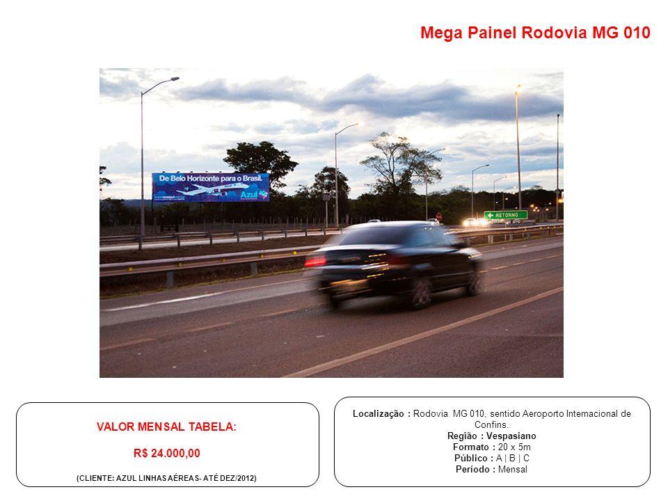 Localização : Rodovia MG 010, sentido Aeroporto Internacional de Confins. Regîão : Vespasiano Formato : 20 x 5m Público : A | B | C Período : Mensal V
