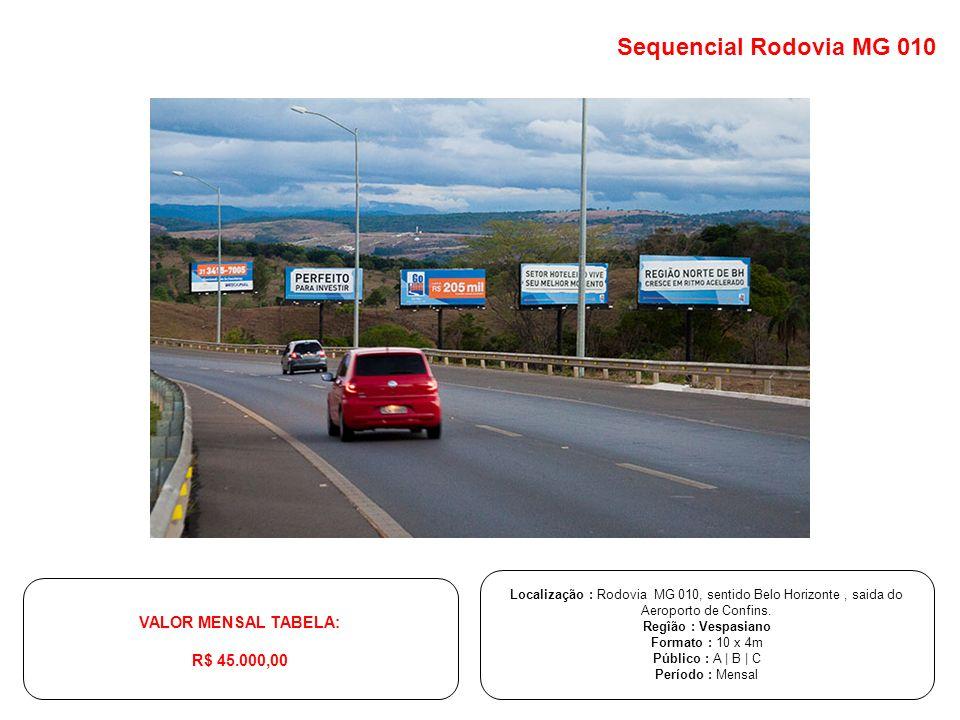Localização : Rodovia MG 010, sentido Belo Horizonte, saida do Aeroporto de Confins. Regîão : Vespasiano Formato : 10 x 4m Público : A | B | C Período