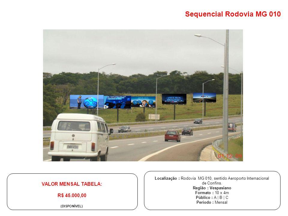 Localização : Rodovia MG 010, sentido Aeroporto Internacional de Confins. Regîão : Vespasiano Formato : 10 x 4m Público : A | B | C Período : Mensal V