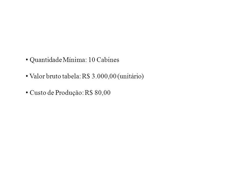 Quantidade Mínima: 10 Cabines Valor bruto tabela: R$ 3.000,00 (unitário) Custo de Produção: R$ 80,00