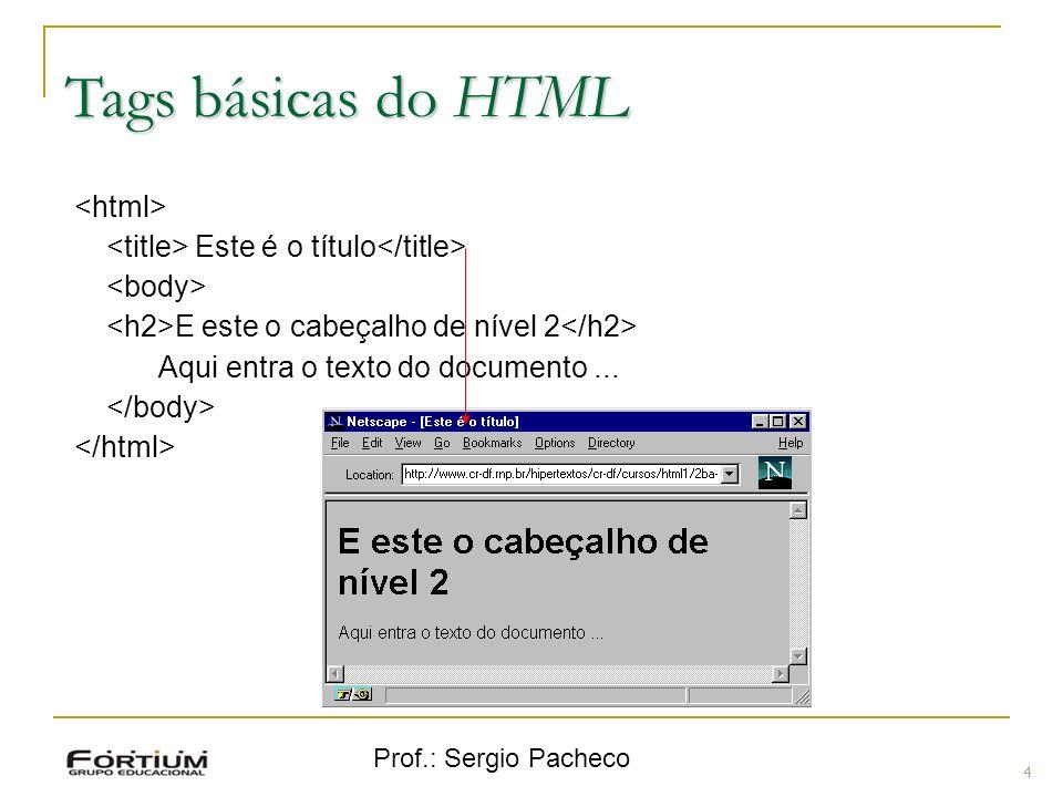 Prof.: Sergio Pacheco Tags básicas do HTML 4 Este é o título E este o cabeçalho de nível 2 Aqui entra o texto do documento...