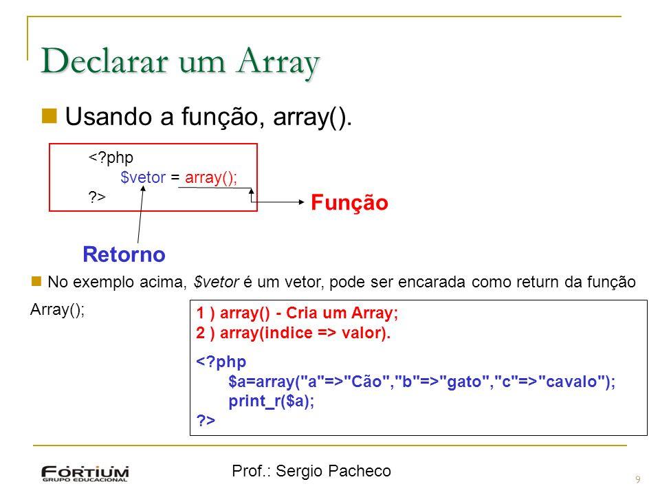 Prof.: Sergio Pacheco 9 Declarar um Array Usando a função, array(). <?php $vetor = array(); ?> Função Retorno No exemplo acima, $vetor é um vetor, pod