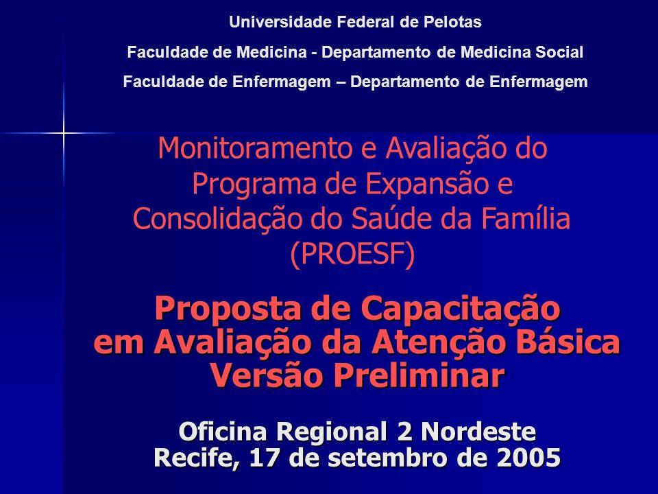 Proposta de Capacitação em Avaliação da Atenção Básica Versão Preliminar Oficina Regional 2 Nordeste Recife, 17 de setembro de 2005 Universidade Feder
