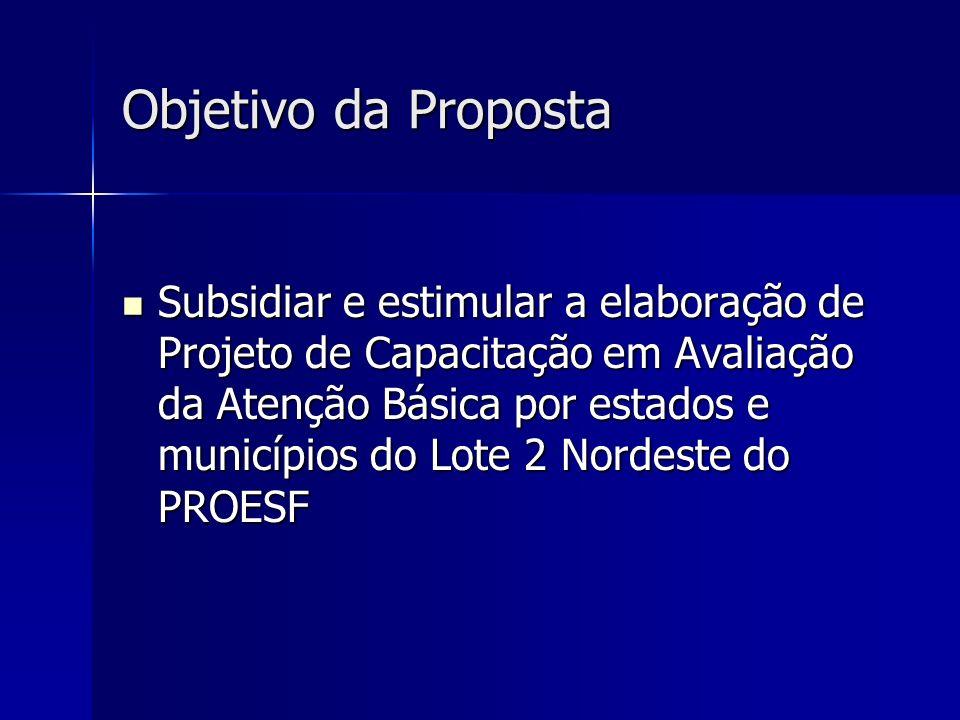 Objetivo da Proposta Subsidiar e estimular a elaboração de Projeto de Capacitação em Avaliação da Atenção Básica por estados e municípios do Lote 2 No