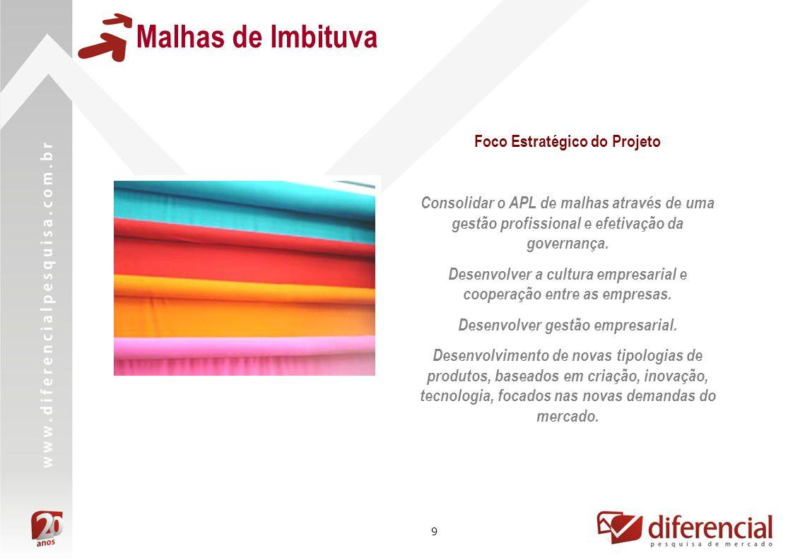 9 Malhas de Imbituva Foco Estratégico do Projeto Consolidar o APL de malhas através de uma gestão profissional e efetivação da governança. Desenvolver