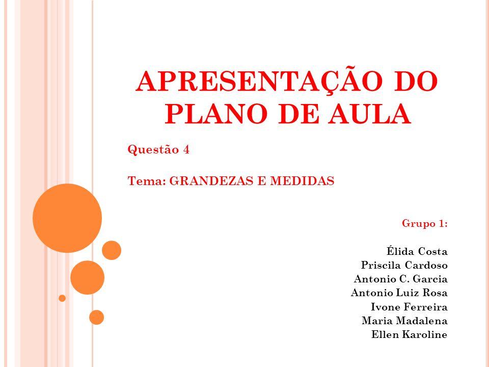 APRESENTAÇÃO DO PLANO DE AULA Questão 4 Tema: GRANDEZAS E MEDIDAS Grupo 1: Élida Costa Priscila Cardoso Antonio C. Garcia Antonio Luiz Rosa Ivone Ferr