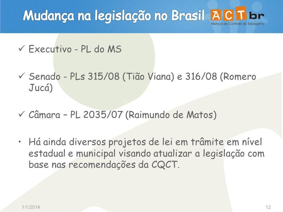 1/1/201412 Executivo - PL do MS Senado - PLs 315/08 (Tião Viana) e 316/08 (Romero Jucá) Câmara – PL 2035/07 (Raimundo de Matos) Há ainda diversos proj