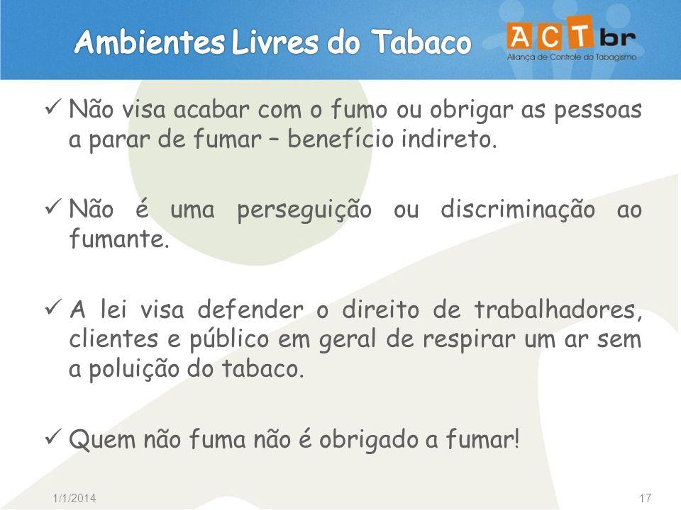 1/1/201417 Não visa acabar com o fumo ou obrigar as pessoas a parar de fumar – benefício indireto. Não é uma perseguição ou discriminação ao fumante.