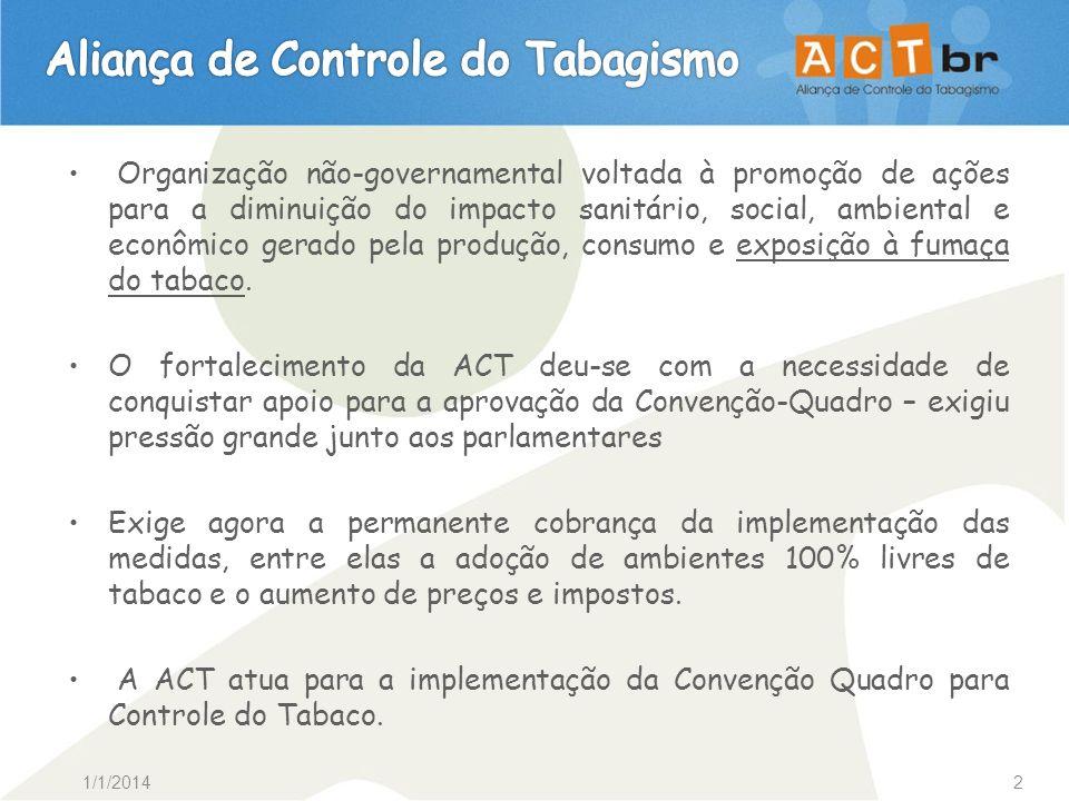 1/1/20142 Organização não-governamental voltada à promoção de ações para a diminuição do impacto sanitário, social, ambiental e econômico gerado pela