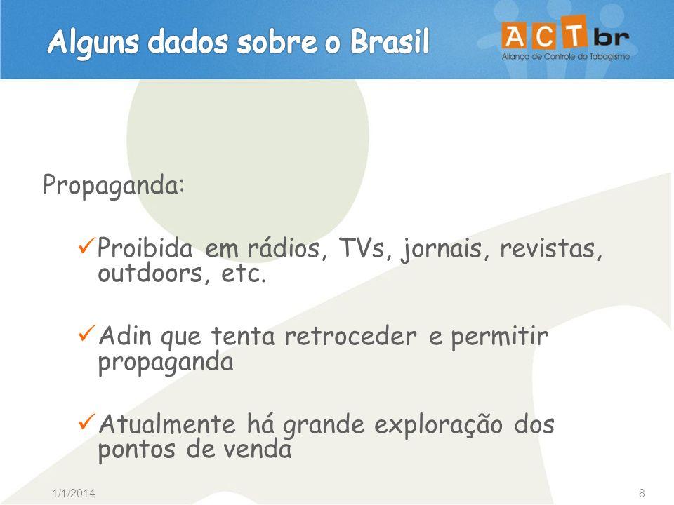 1/1/20149 Aumento de preços e impostos: Cigarro brasileiro é o 6º mais barato do mundo, nas Américas só perde para o Paraguai.