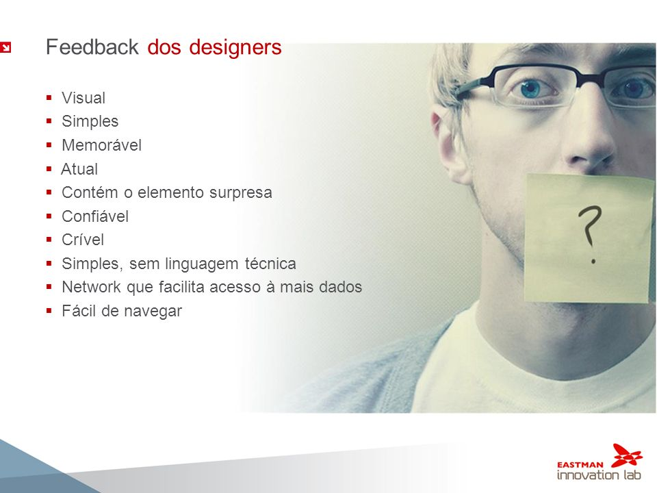 Feedback dos designers Visual Simples Memorável Atual Contém o elemento surpresa Confiável Crível Simples, sem linguagem técnica Network que facilita