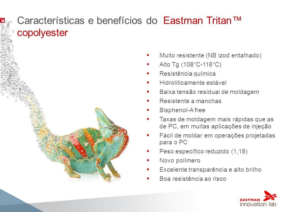 Características e benefícios do Eastman Tritan copolyester Muito resistente (NB izod entalhado) Alto Tg (108°C-116°C) Resistência química Hidroliticam