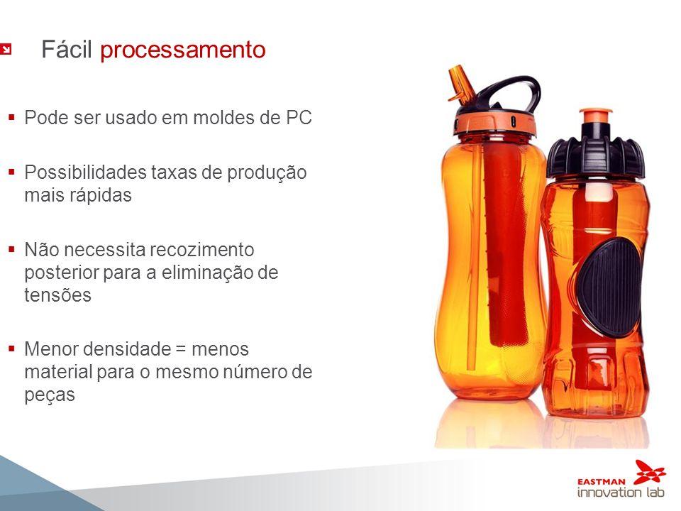 Fácil processamento Pode ser usado em moldes de PC Possibilidades taxas de produção mais rápidas Não necessita recozimento posterior para a eliminação