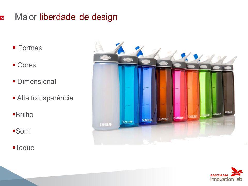 Maior liberdade de design Formas Cores Dimensional Alta transparência Brilho Som Toque
