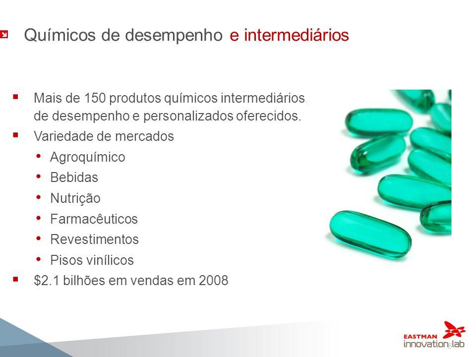 8 Químicos de desempenho e intermediários Mais de 150 produtos químicos intermediários, de desempenho e personalizados oferecidos. Variedade de mercad