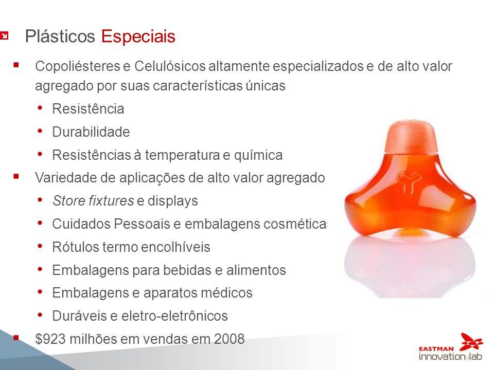 9 Plásticos Especiais Copoliésteres e Celulósicos altamente especializados e de alto valor agregado por suas características únicas Resistência Durabi