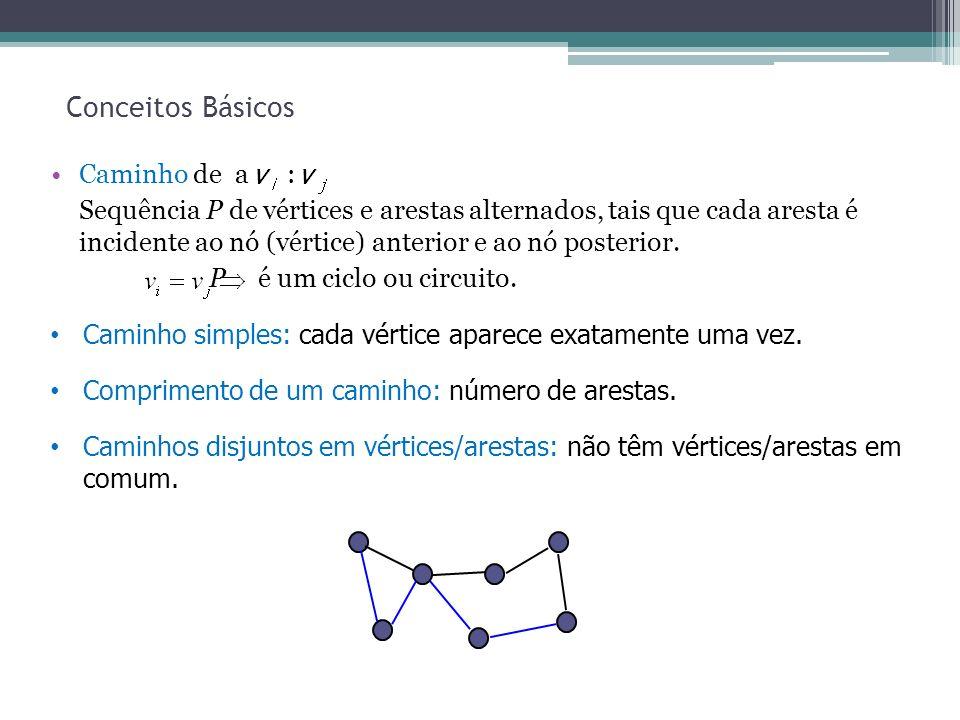 12 Conceitos Básicos Caminho de a : Sequência P de vértices e arestas alternados, tais que cada aresta é incidente ao nó (vértice) anterior e ao nó po