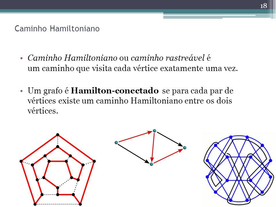 Caminho Hamiltoniano Caminho Hamiltoniano ou caminho rastreável é um caminho que visita cada vértice exatamente uma vez. Um grafo é Hamilton-conectado
