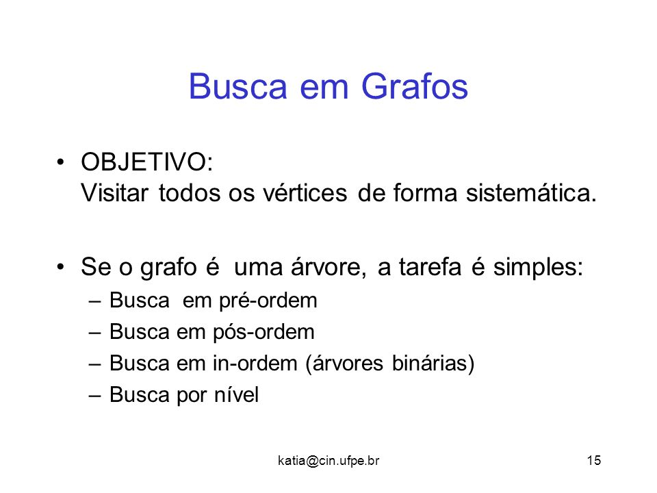 katia@cin.ufpe.br15 Busca em Grafos OBJETIVO: Visitar todos os vértices de forma sistemática. Se o grafo é uma árvore, a tarefa é simples: –Busca em p