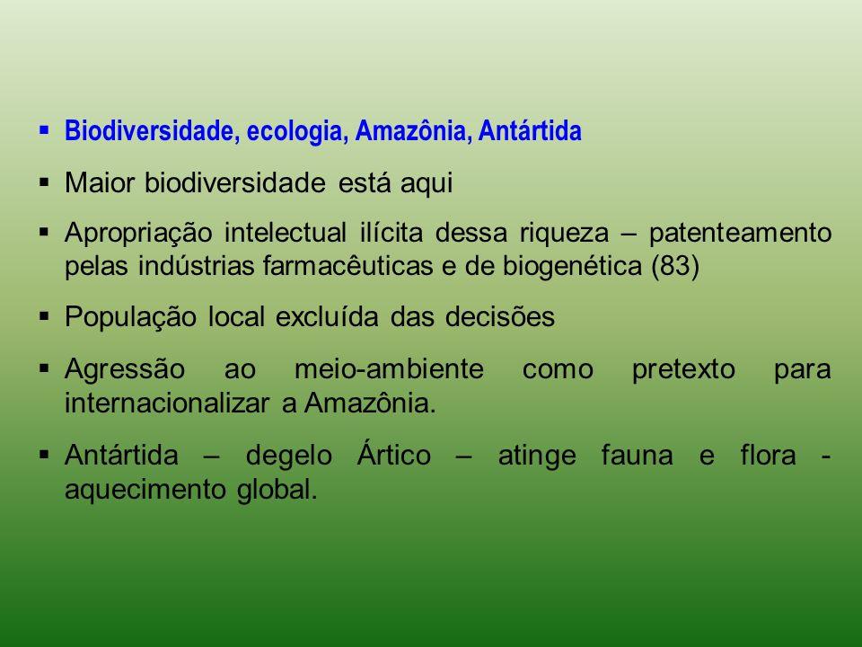 Biodiversidade, ecologia, Amazônia, Antártida Maior biodiversidade está aqui Apropriação intelectual ilícita dessa riqueza – patenteamento pelas indús