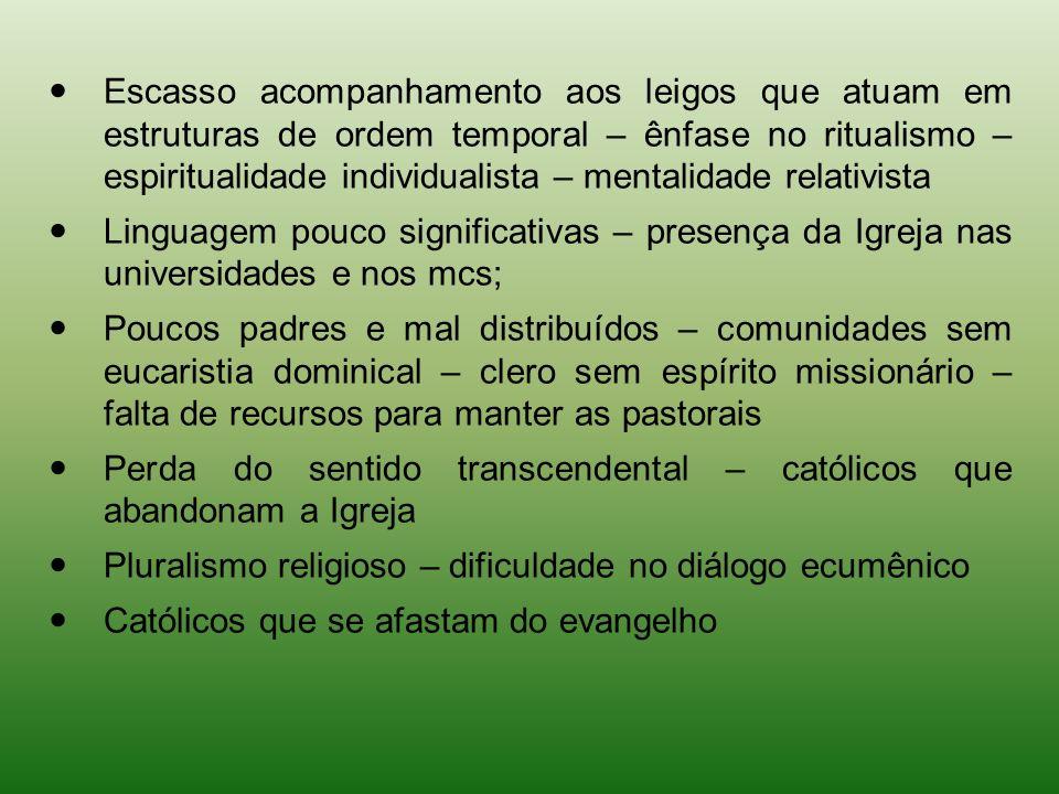 Escasso acompanhamento aos leigos que atuam em estruturas de ordem temporal – ênfase no ritualismo – espiritualidade individualista – mentalidade rela