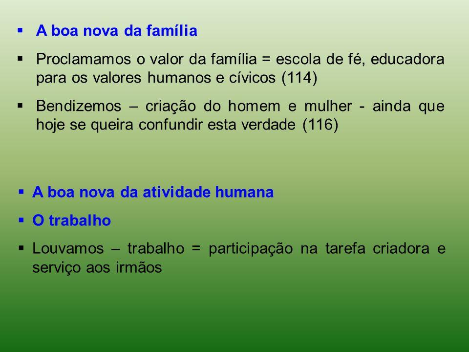 A boa nova da família Proclamamos o valor da família = escola de fé, educadora para os valores humanos e cívicos (114) Bendizemos – criação do homem e
