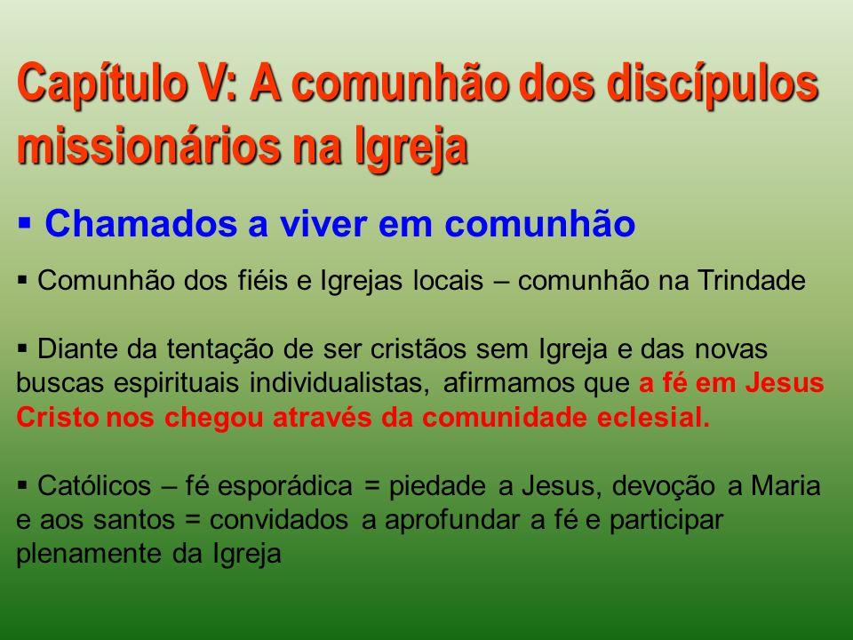 Capítulo V: A comunhão dos discípulos missionários na Igreja Chamados a viver em comunhão Comunhão dos fiéis e Igrejas locais – comunhão na Trindade D