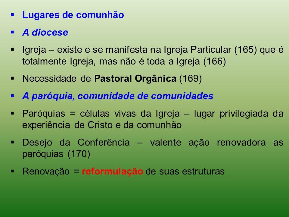 Lugares de comunhão A diocese Igreja – existe e se manifesta na Igreja Particular (165) que é totalmente Igreja, mas não é toda a Igreja (166) Necessi