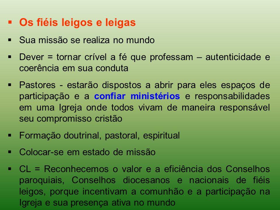 Os fiéis leigos e leigas Sua missão se realiza no mundo Dever = tornar crível a fé que professam – autenticidade e coerência em sua conduta Pastores -