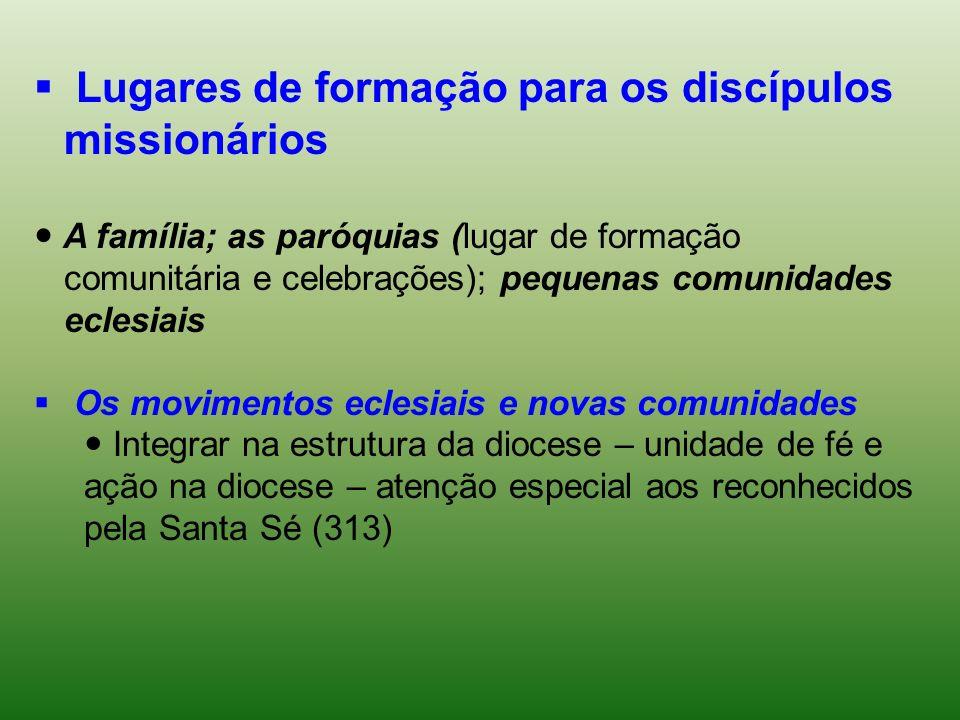 Lugares de formação para os discípulos missionários A família; as paróquias (lugar de formação comunitária e celebrações); pequenas comunidades eclesi
