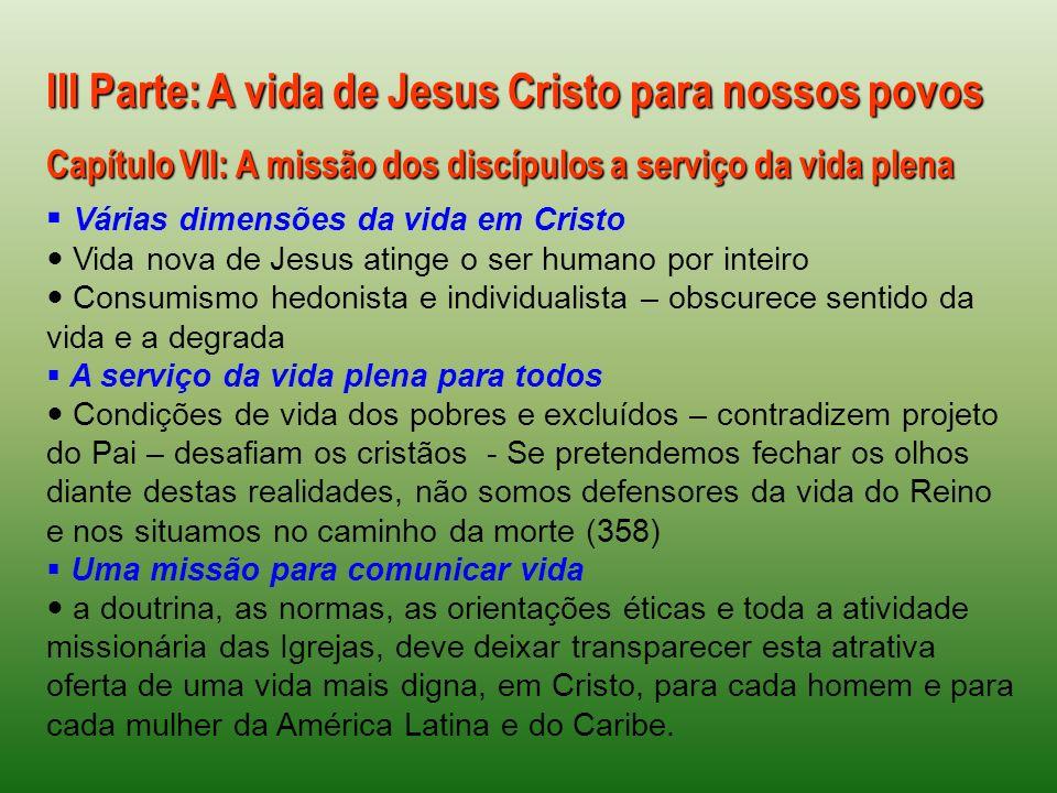 III Parte: A vida de Jesus Cristo para nossos povos Capítulo VII: A missão dos discípulos a serviço da vida plena Várias dimensões da vida em Cristo V