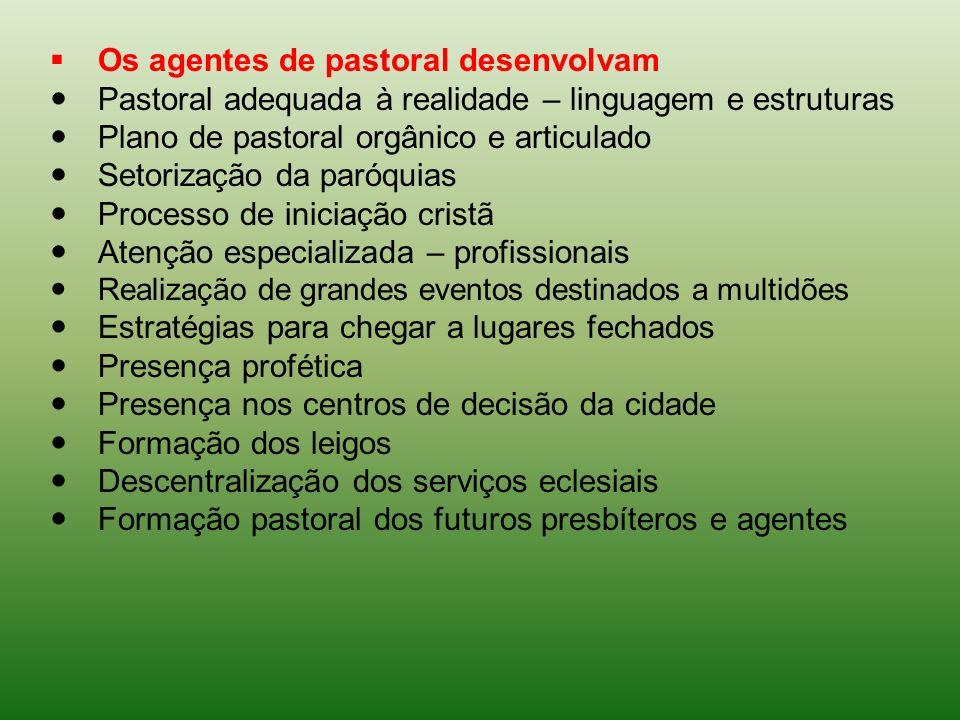 Os agentes de pastoral desenvolvam Pastoral adequada à realidade – linguagem e estruturas Plano de pastoral orgânico e articulado Setorização da paróq
