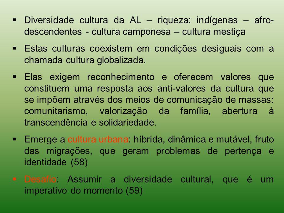 Diversidade cultura da AL – riqueza: indígenas – afro- descendentes - cultura camponesa – cultura mestiça Estas culturas coexistem em condições desigu