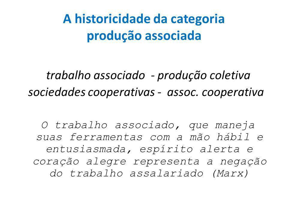 A historicidade da categoria produção associada trabalho associado - produção coletiva sociedades cooperativas - assoc.