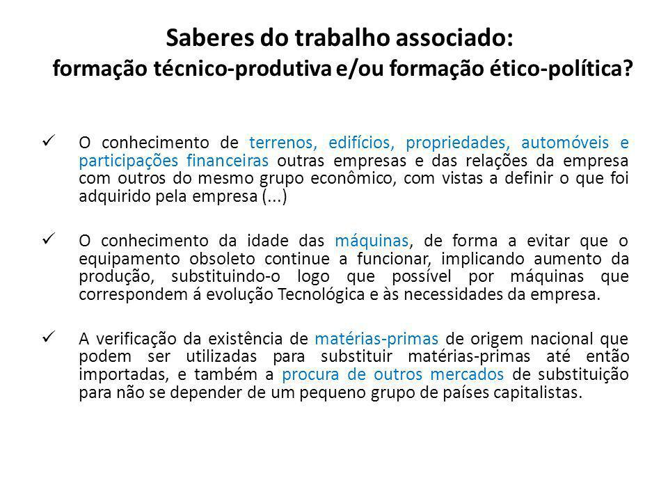 Saberes do trabalho associado: formação técnico-produtiva e/ou formação ético-política.