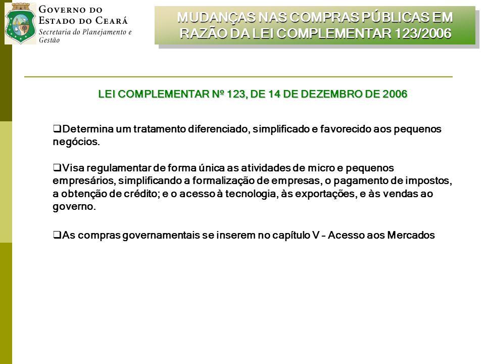 MUDANÇAS NAS COMPRAS PÚBLICAS EM RAZÃO DA LEI COMPLEMENTAR 123/2006 LEI COMPLEMENTAR Nº 123, DE 14 DE DEZEMBRO DE 2006 Determina um tratamento diferenciado, simplificado e favorecido aos pequenos negócios.