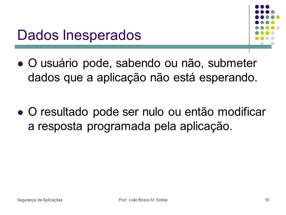 Segurança de AplicaçõesProf. João Bosco M. Sobral10 Dados Inesperados O usuário pode, sabendo ou não, submeter dados que a aplicação não está esperand