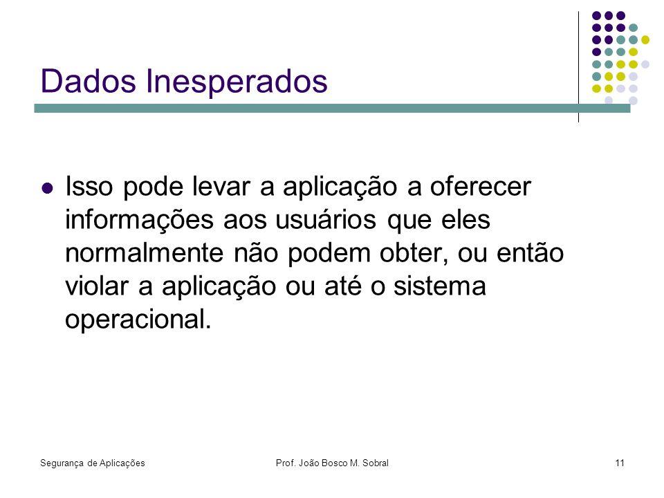Segurança de AplicaçõesProf. João Bosco M. Sobral11 Dados Inesperados Isso pode levar a aplicação a oferecer informações aos usuários que eles normalm