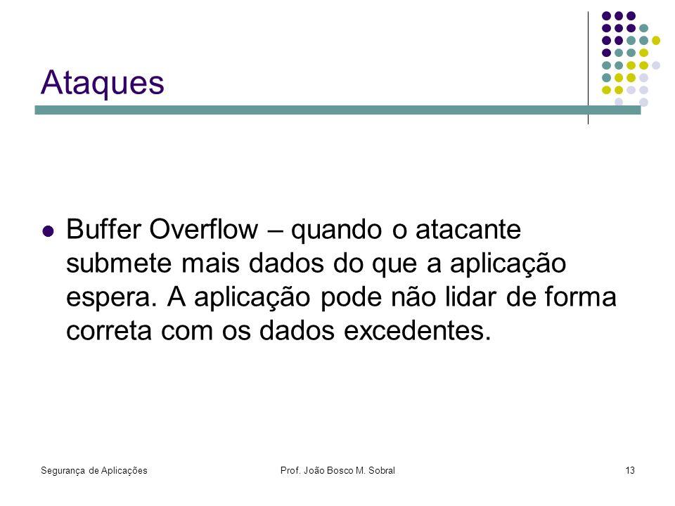 Segurança de AplicaçõesProf. João Bosco M. Sobral13 Ataques Buffer Overflow – quando o atacante submete mais dados do que a aplicação espera. A aplica