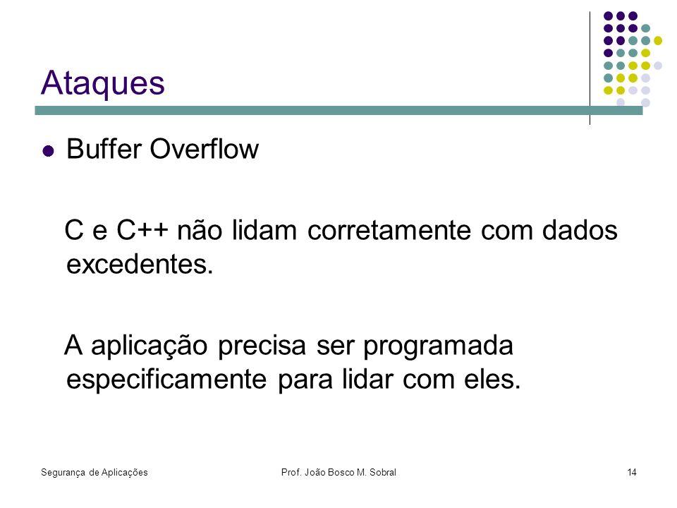 Segurança de AplicaçõesProf. João Bosco M. Sobral14 Ataques Buffer Overflow C e C++ não lidam corretamente com dados excedentes. A aplicação precisa s