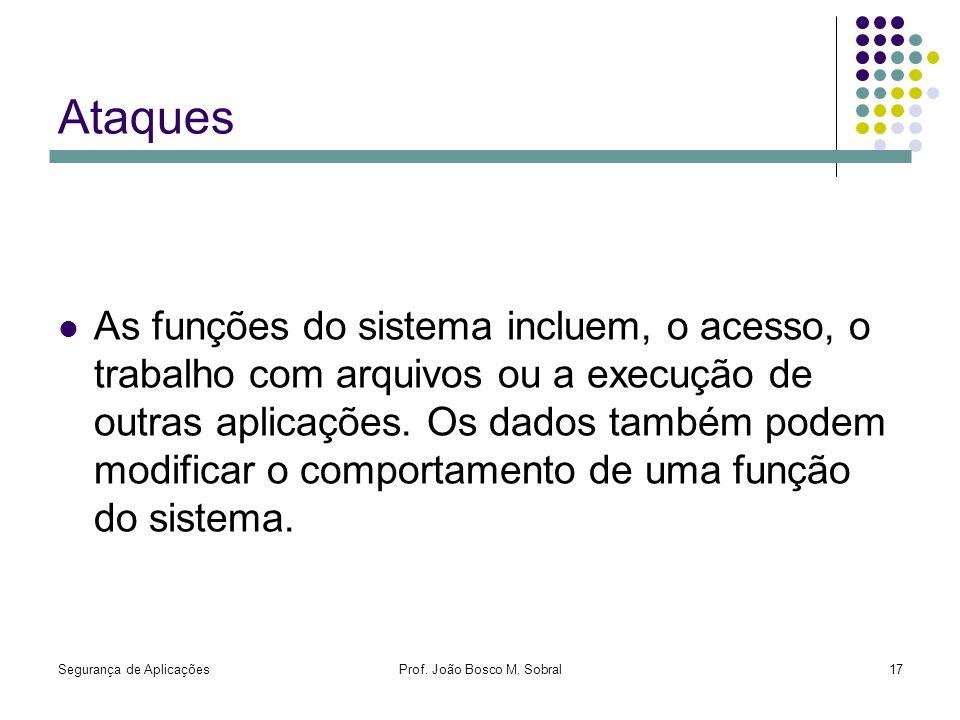 Segurança de AplicaçõesProf. João Bosco M. Sobral17 Ataques As funções do sistema incluem, o acesso, o trabalho com arquivos ou a execução de outras a