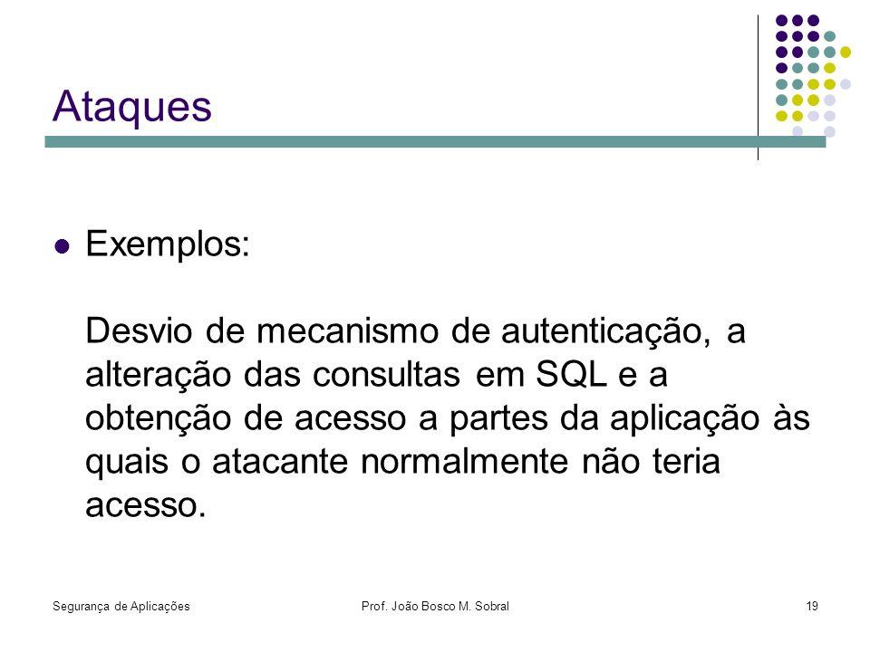 Segurança de AplicaçõesProf. João Bosco M. Sobral19 Ataques Exemplos: Desvio de mecanismo de autenticação, a alteração das consultas em SQL e a obtenç