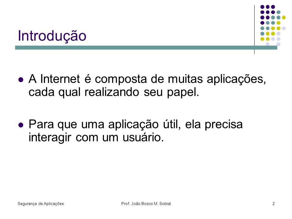 Segurança de AplicaçõesProf. João Bosco M. Sobral2 Introdução A Internet é composta de muitas aplicações, cada qual realizando seu papel. Para que uma