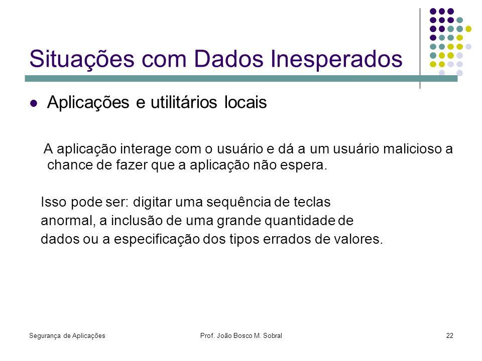 Segurança de AplicaçõesProf. João Bosco M. Sobral22 Situações com Dados Inesperados Aplicações e utilitários locais A aplicação interage com o usuário